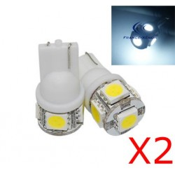 2 x 5 white LED bulbs - SMD - 5 LED- t10 W5W
