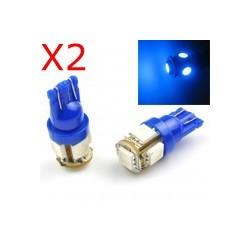 2 x BULBS 5 BLUE LEDS - SMD LED - 5 led - T10 W5W