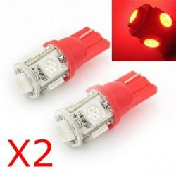 2 x BULBS 5 RED LEDS - SMD LED - 5 led - T10 W5W