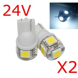 2 x T10 W5W 24V - 5 LEDS SMD BLANCHES
