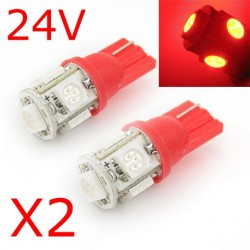 2 x T10 W5W 24V - 5 LEDS SMD ROUGE