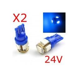 2 x T10 W5W 24V - 5 LEDS SMD BLEU