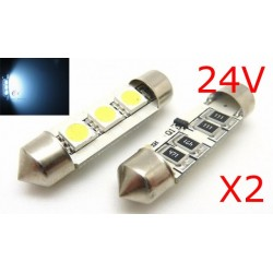 2 x AMPOULES 3 LEDS SMD anti-erreur - Navette 37mm