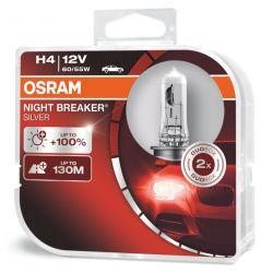 2x H4 NIGHT BREAKER® SILVER +100% GEN2 OSRAM 64193NBS-HCB