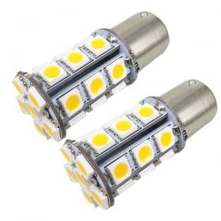 2 x 24 LED SMD ORANGE - Glühbirnen BA15S / P21W / 1156 / T25 - Orange