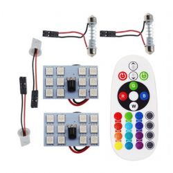 Remote Control 12 Rgb Car Led panel interior Auto lights Reading Dome Festoon
