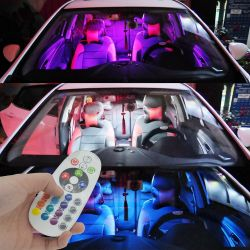 Remote Control 15 Rgb Car Led panel interior Auto lights Reading Dome Festoon