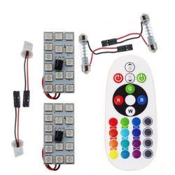 Remote Control 15 Rgb Car Led panel interior Auto lights Reading Dome Festoon