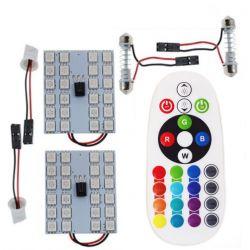 Remote Control 24 Rgb Car Led panel interior Auto lights Reading Dome Festoon