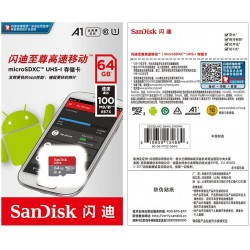 SanDisk Ultra 64GB microSDXC Memory Card + 100MB / S Class 10, U1, A1 approved