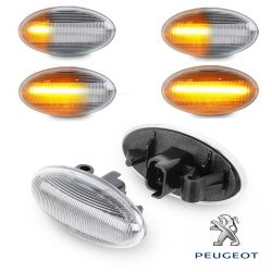 Flashing Repeaters OVAL Clear LED DYNAMIC SCROLLING Peugeot 1007 107 206 207 307 407 607 Partner Expert