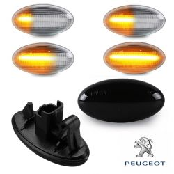 Flashing Repeaters OVAL Smoked LED DYNAMIC SCROLLING Peugeot 1007 107 206 207 307 407 607 Partner Expert