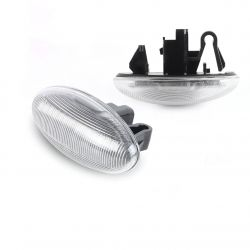 Flashing Repeaters OVAL Clear LED DYNAMIC SCROLLING Citroën C1 C2 C3 C5 C6 Xsara Berlingo Jumpy
