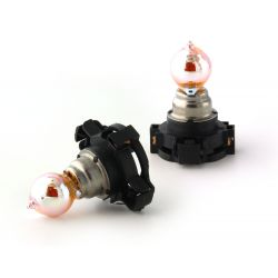 2 x Bulbs PY24W Flashing Chrome Orange 24W 12V Silver