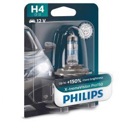 1x H4 12V 55/65W XtremVision Pro150 Philips 12342XVPB1