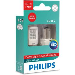 2X ULTINON P21W LED BULBS RED PHILIPS SIGNAL LAMP 11498ULRX2