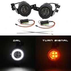 LED Flasher + LED Daytime Running Lights Halo Mini R50 R51 R52 R53 2000 to 2008 - Right + Left CANBUS - SMOKE