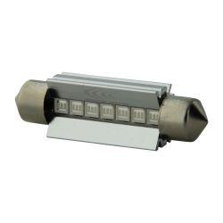 1 x BOMBILLA C10W T10.5x43 42mm 8 LED AZULES Super Canbus 80Lms XENLED - PALADIO