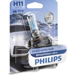 1x H11 WhiteVision ultra Philips lamp for front lighting 12362WVUB1