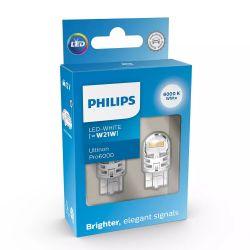 2x W21W LED Ultinon Pro6000 Cold White 6000K - Philips - 11065CU60X2 - T20 7440