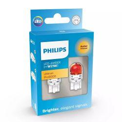 2x W21W LED Ultinon Pro6000 Orange - Philips - 11065AU60X2 - T20 7440