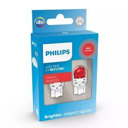2x W21 / 5W LED Ultinon Pro6000 Red - Philips - 11066RU60X2 - T20 7443
