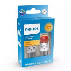 2x P21W LED Ultinon Pro6000 Orange - Philips - 11498AU60X2 - BA15S 1156