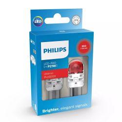 2x P21W LED Ultinon Pro6000 Red - Philips - 11498AU60X2 - BA15S 1156