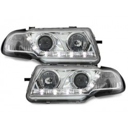 Lot 2 phares DECTANE DRL look Opel Astra F 95-98_drl optic_chrome