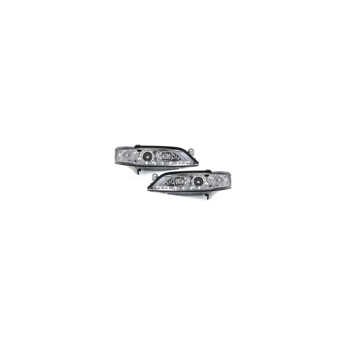 Lot 2 phares DECTANE DRL look Opel Vectra B 96-99_drl optic_chrome
