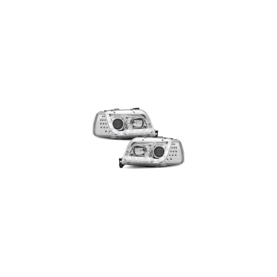 Lot 2 phares DECTANE DRL look Renault Clio I 90-96_drl optic_chrome