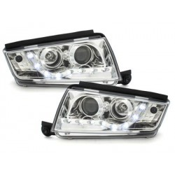 Lot 2 phares DECTANE DRL look Skoda Fabia 99-07_drl optic_chrome