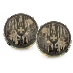 Lot 2 headlights vw golf i 74-83 cap_lens iron cross black and chrome