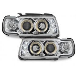 Lot 2 headlights vw polo 6n 95-98_2 halo rims_chrome