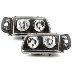 Lot 2 headlights vw polo 6n 95-98_without halo rims_black