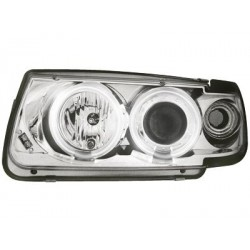 Lot 2 headlights vw polo 6n 95-98_2 ccfl halo rims_chrome