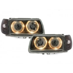 Lot 2 headlights vw polo 6n 95-98_2 halo rims_black