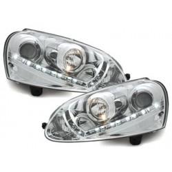 Lot 2 phares DECTANE VW Golf V daytime running light_HID_chrome