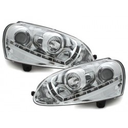 Lot 2 phares DECTANE VW Golf V daytime running light_HID_chrome