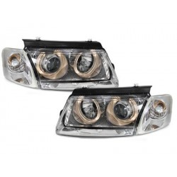 Lot 2 headlights VW Passat 3b 96-00_2 halo rims_chrome