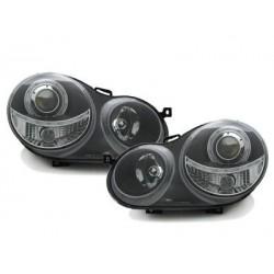 Lot 2 headlights vw polo 9n 11.01-04.05_1 halo rim_black