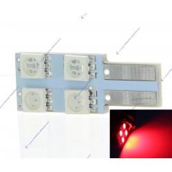 Lampadina 4 SMD oneside rosso - T10 W5W