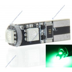 Lampadina 3 LED SMD Canbus verde - T10 W5W