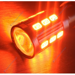 2x LED bulbs 21 sg - P21W - orange / blood
