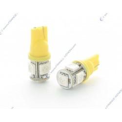 2 x lampade LED 5 arancione - SMD LED - 5 Led T10 W5W