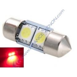 1 x ampoule c3w - 2 leds rouge anti-erreur - navette 31mm