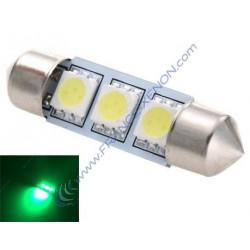 Green Festoon bulb 42 mm - 3 Leds SMD C10W Error Free