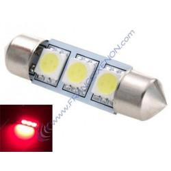 1 x ampoule c10w - 3 leds rouge anti-erreur - navette 42mm