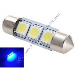 1 x Lampe C10W - 3 LEDS blau Anti-Fehler - Shuttle 42 mm