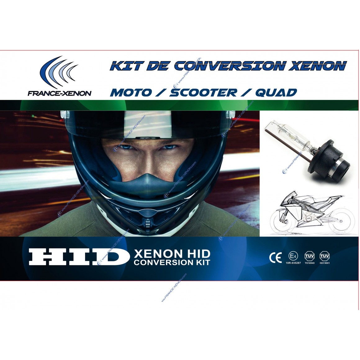 Kit HID - H4-3 - Slim Ballast - 8000°K moto